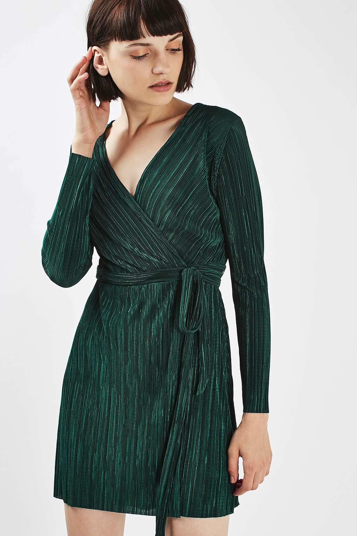 af94748fb486 TOPSHOP Plisse Wrap Dress - Lyst