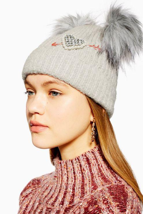 be7fc14a4f1 Topshop Double Faux Fur Pom Pom Beanie in Gray - Lyst