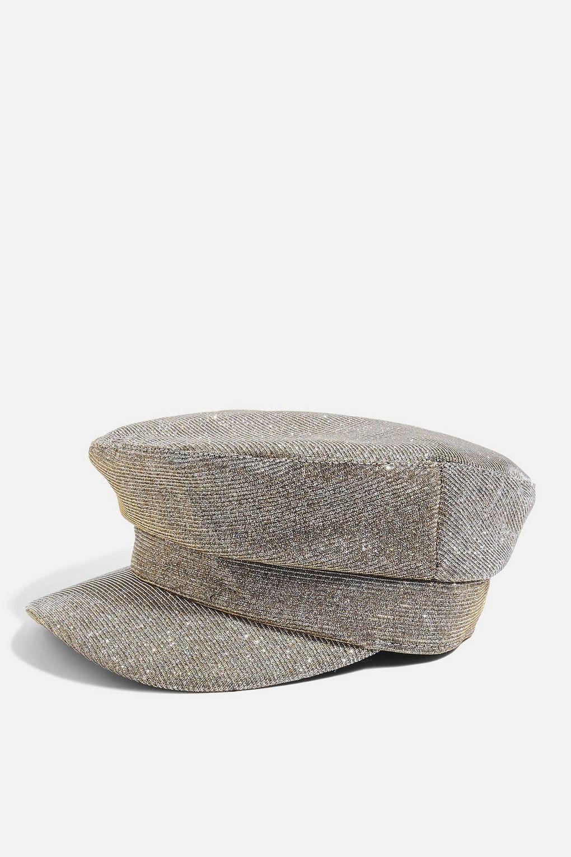 Lyst - TOPSHOP Glitter Baker Boy Hat in Metallic 77b2cd21eb2