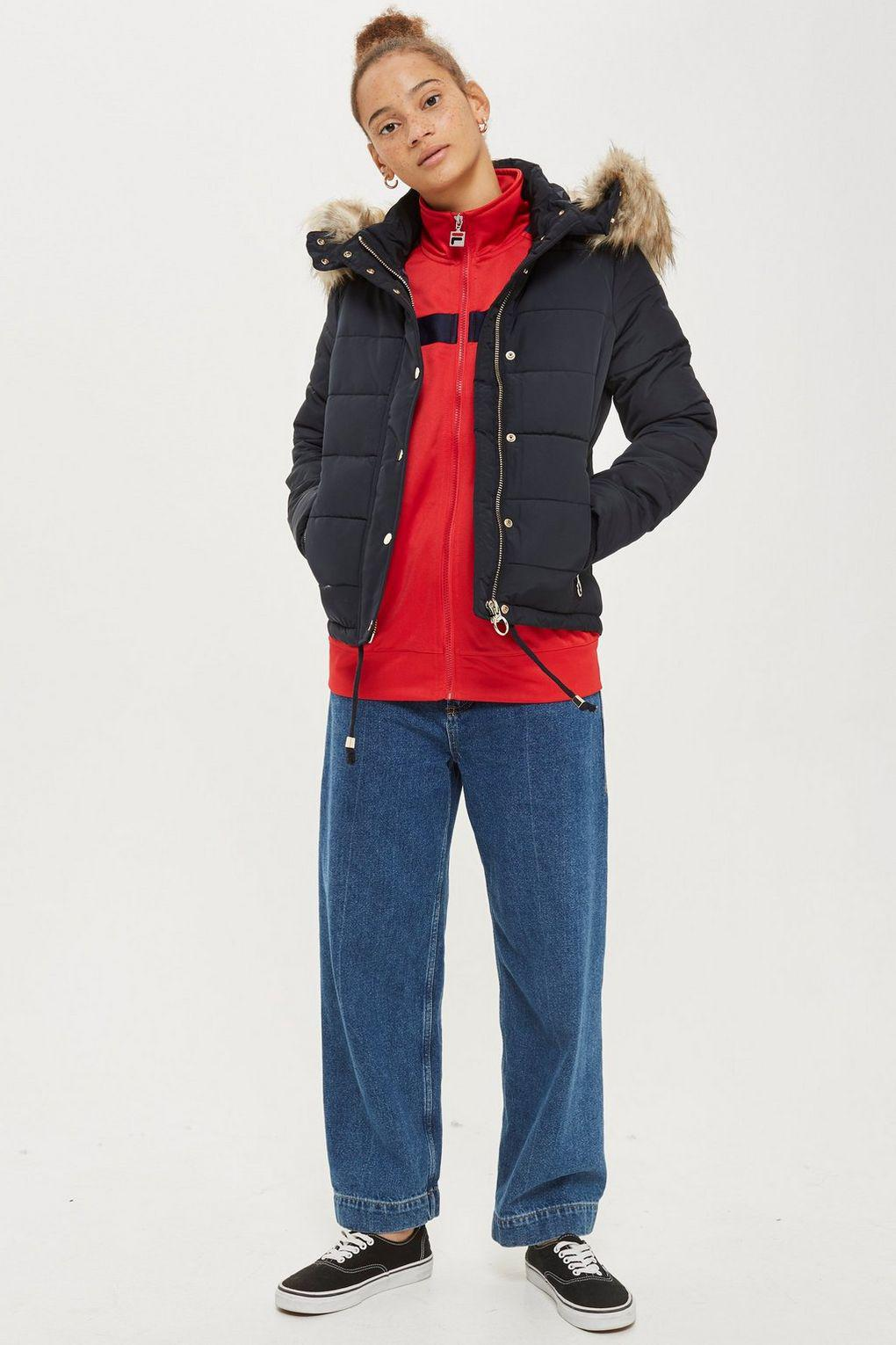4224379354b1 TOPSHOP Quilted Puffer Jacket in Blue - Lyst