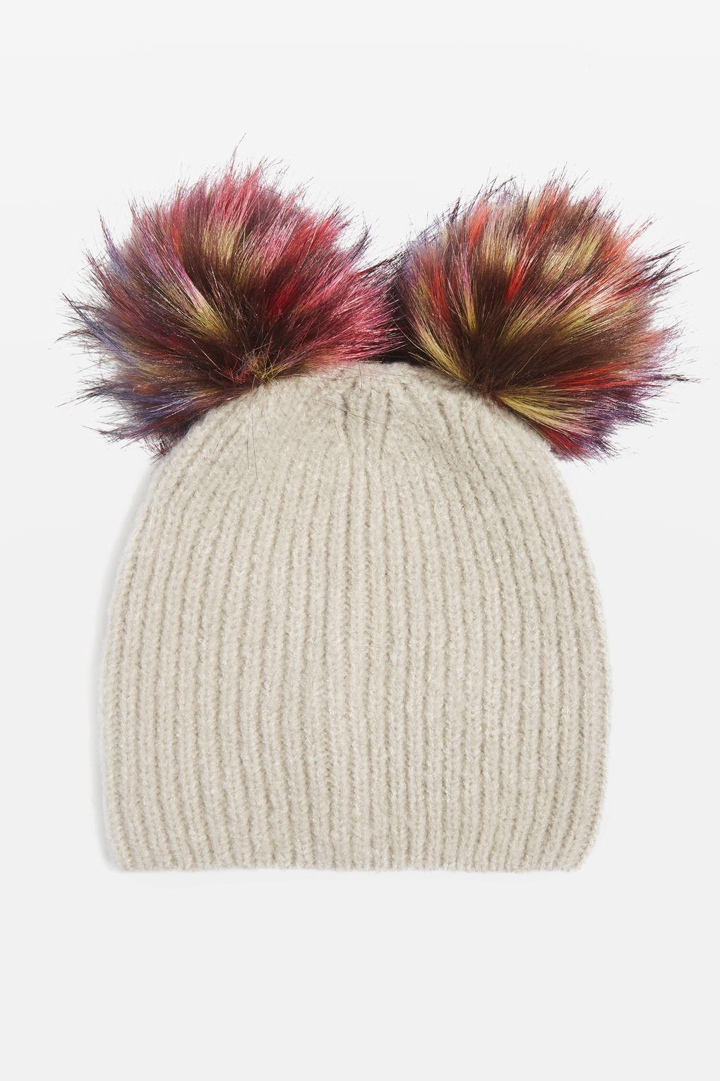 77cd852841d TOPSHOP Double Multi Pom Pom Hat in Gray - Lyst