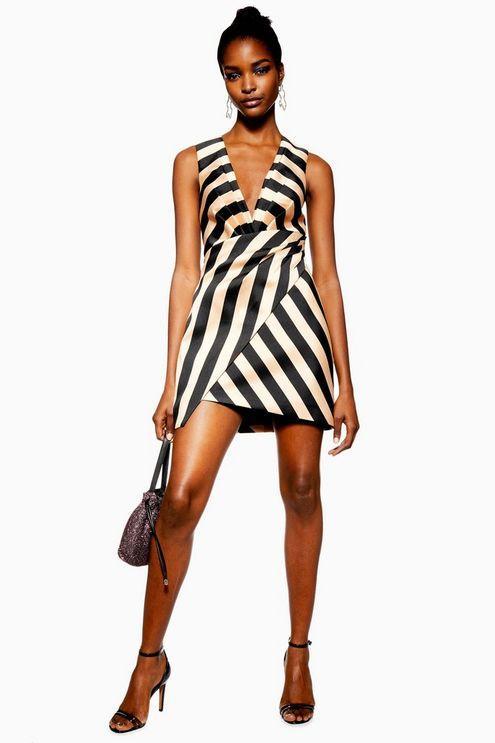 7bd91e4b TOPSHOP. Women's Stripe Wrap Structured Dress
