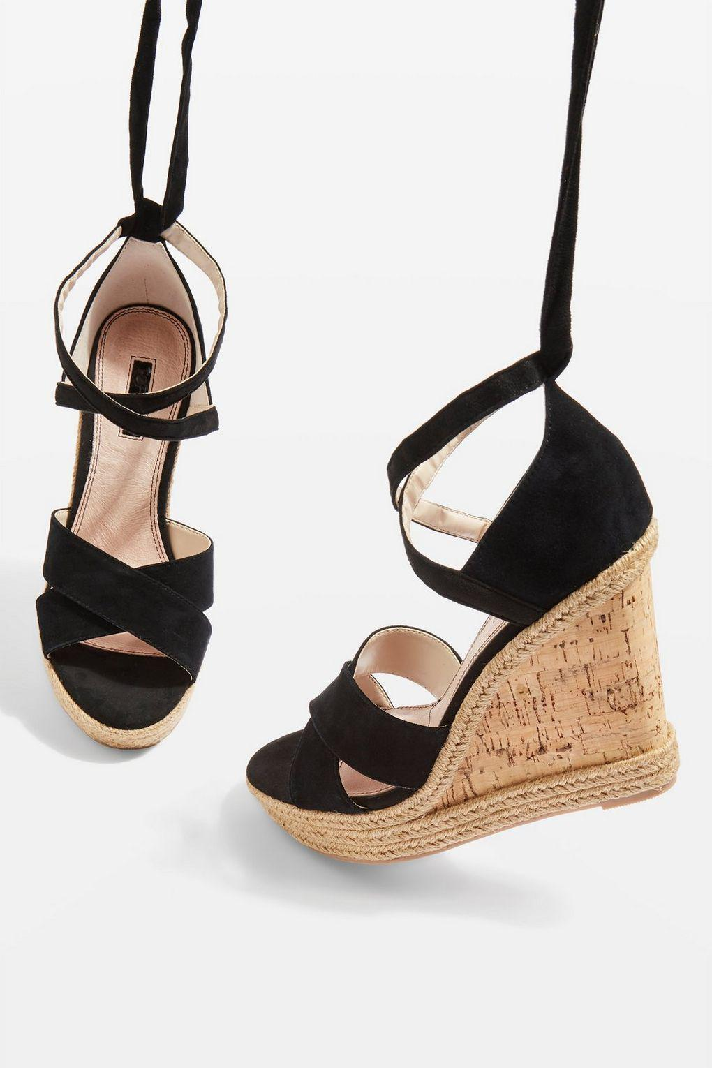 d4ff3aec3f86 Lyst - TOPSHOP Winona Wedges in Black