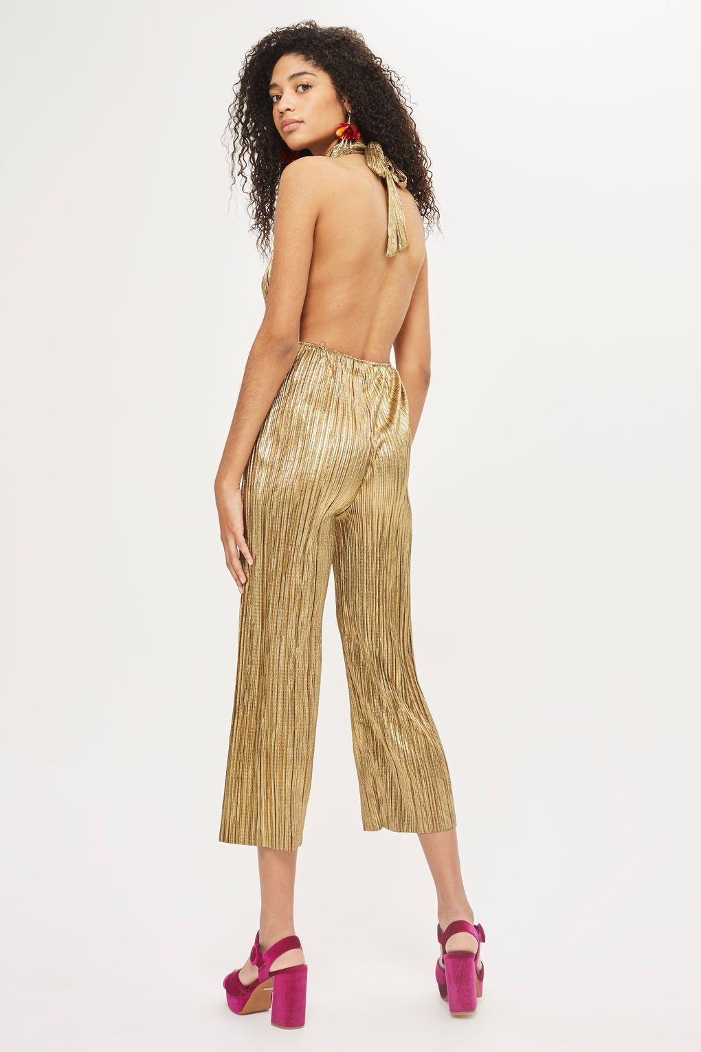 e0a0c0b4ac8 Oh My Love Metallic Pleated Plunge Jumpsuit By in Metallic - Lyst