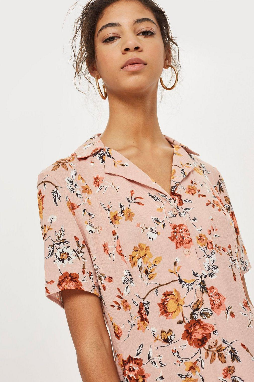 70f8e745029 TOPSHOP Petite Floral Shirt Playsuit - Lyst