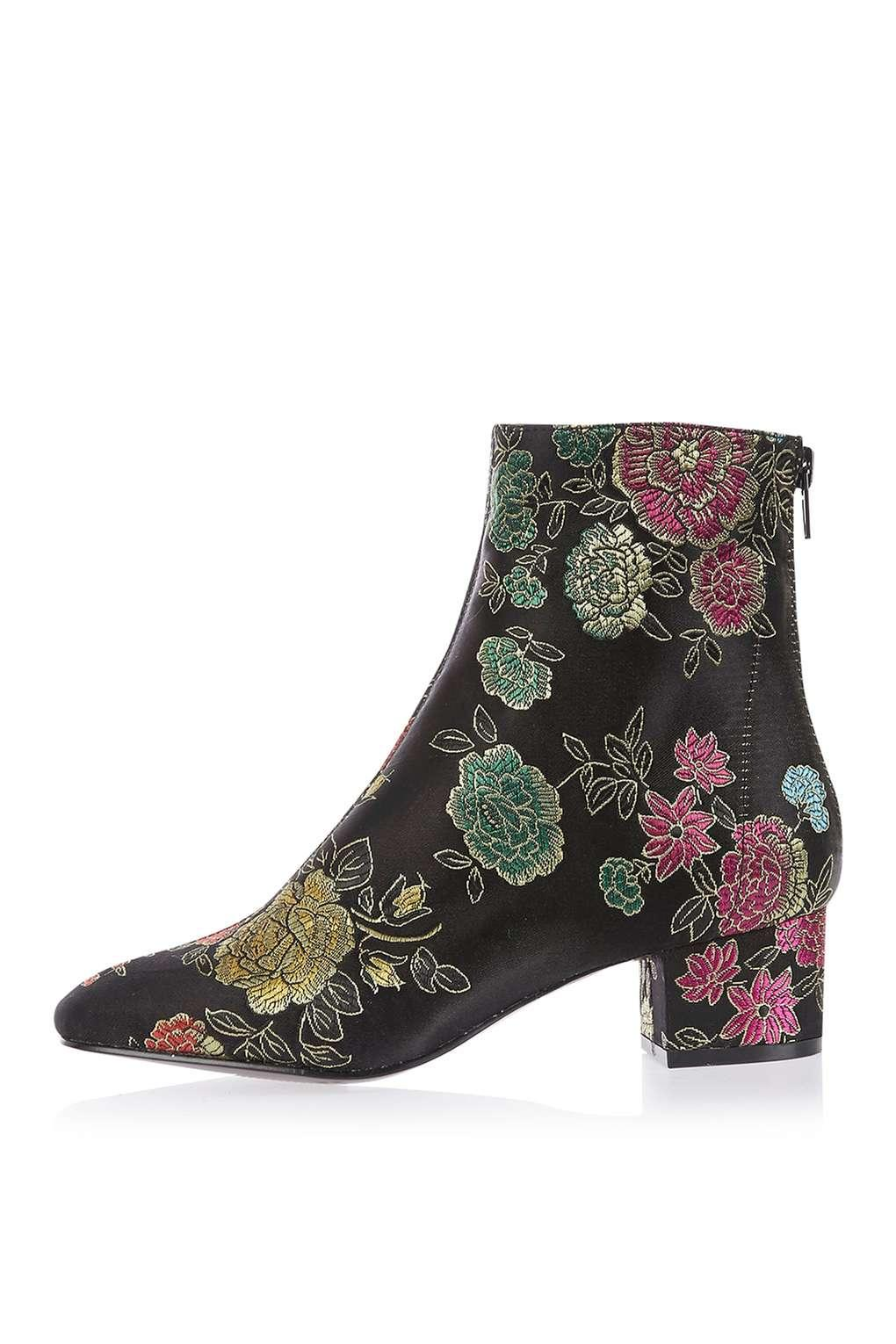 Lyst Topshop Kobra Embroidered Ankle Boots