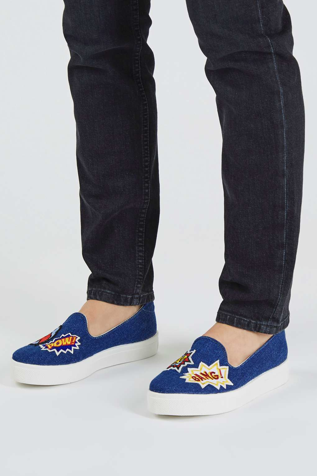 topshop temp patches slip on shoes in blue lyst