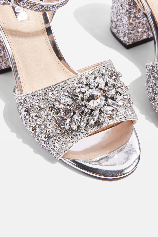 09490af0ed TOPSHOP Razzle Glitter Block Heel Sandals in Metallic - Lyst