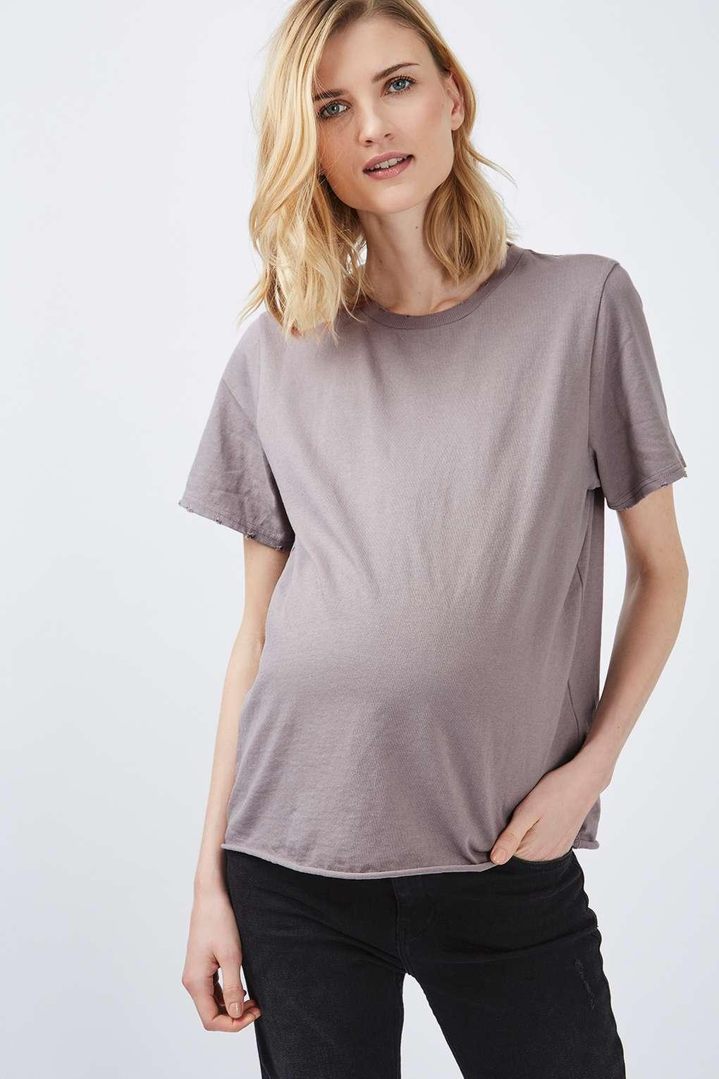 Lyst topshop maternity nibbled t shirt in purple for Womens denim shirts topshop