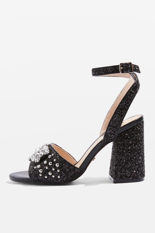 e64d9deac5 Topshop Razzle Glitter Block Heel Sandals in Black - Lyst