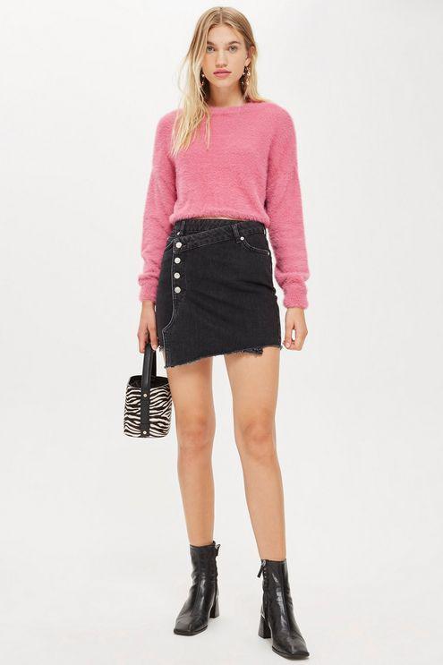 099a77b83f TOPSHOP Asymmetric Denim Skirt in Black - Lyst