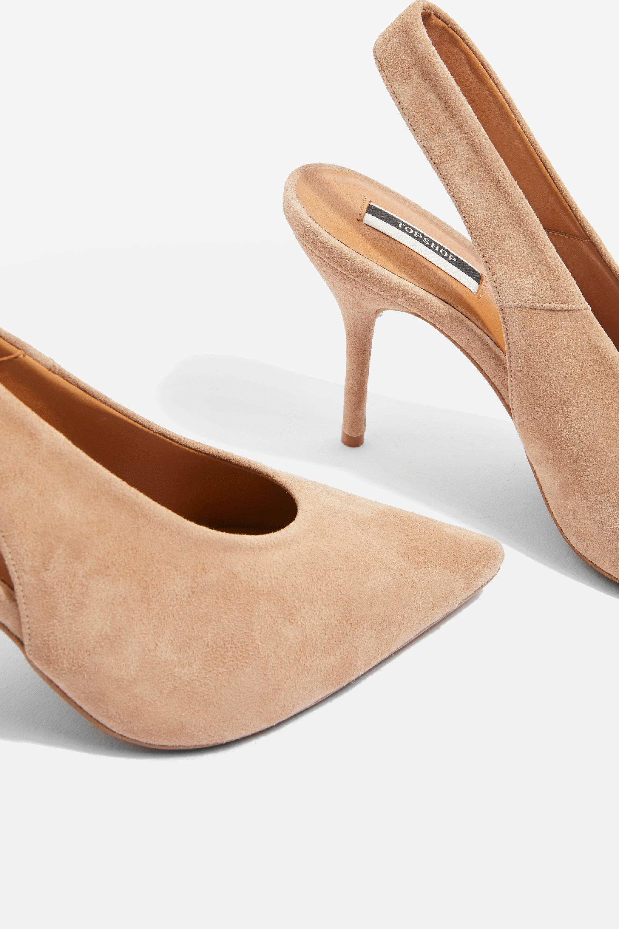 7b5f6186d88c TOPSHOP Gail Slingback Shoes in Natural - Lyst