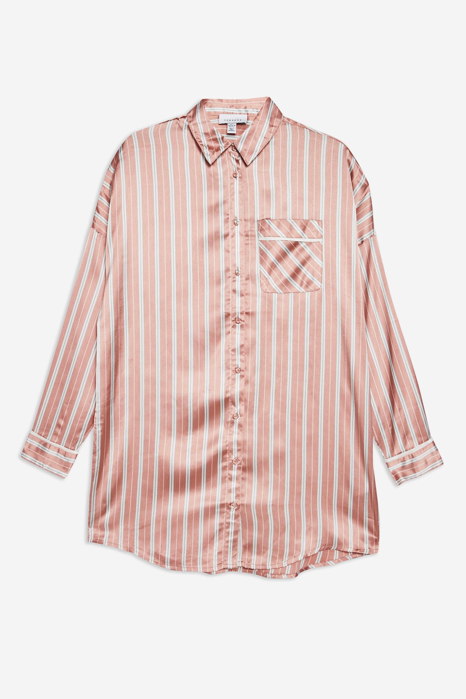 1326e38cd3 TOPSHOP Blush Pink Striped Pyjama Shirt in Pink - Lyst