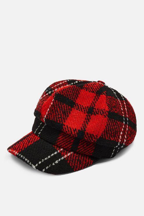 87c07208702c3 TOPSHOP - Red Lumberjack Baker Boy Hat - Lyst. View fullscreen