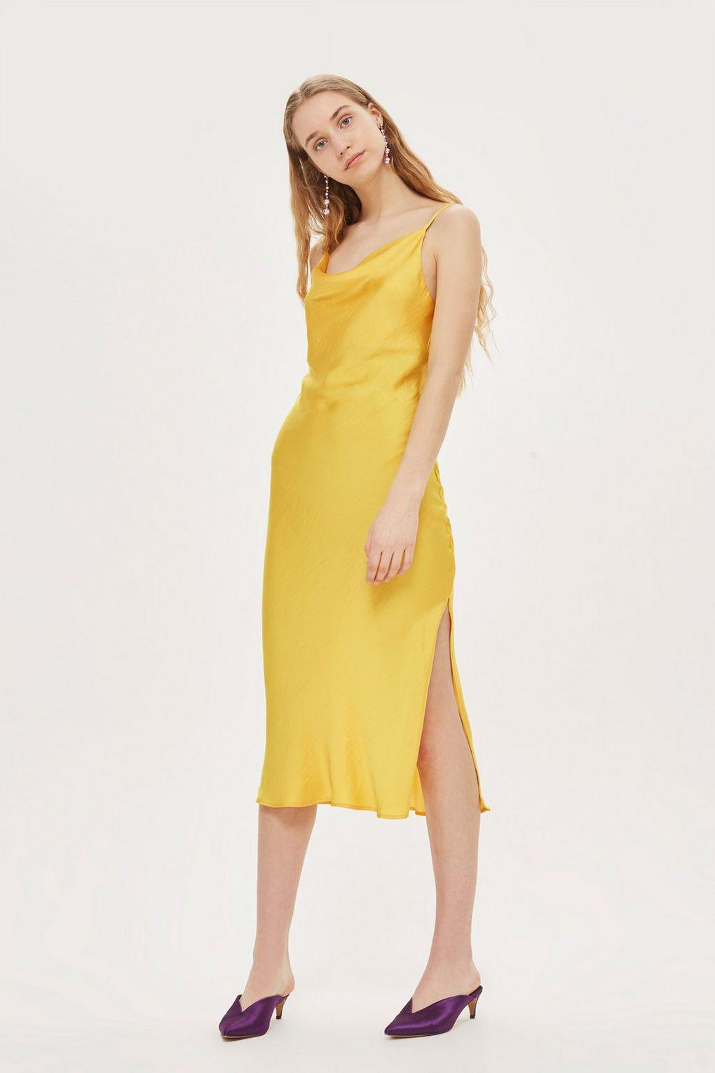 a01ce0049d15 TOPSHOP Cowl Neck Slip Dress in Yellow - Lyst