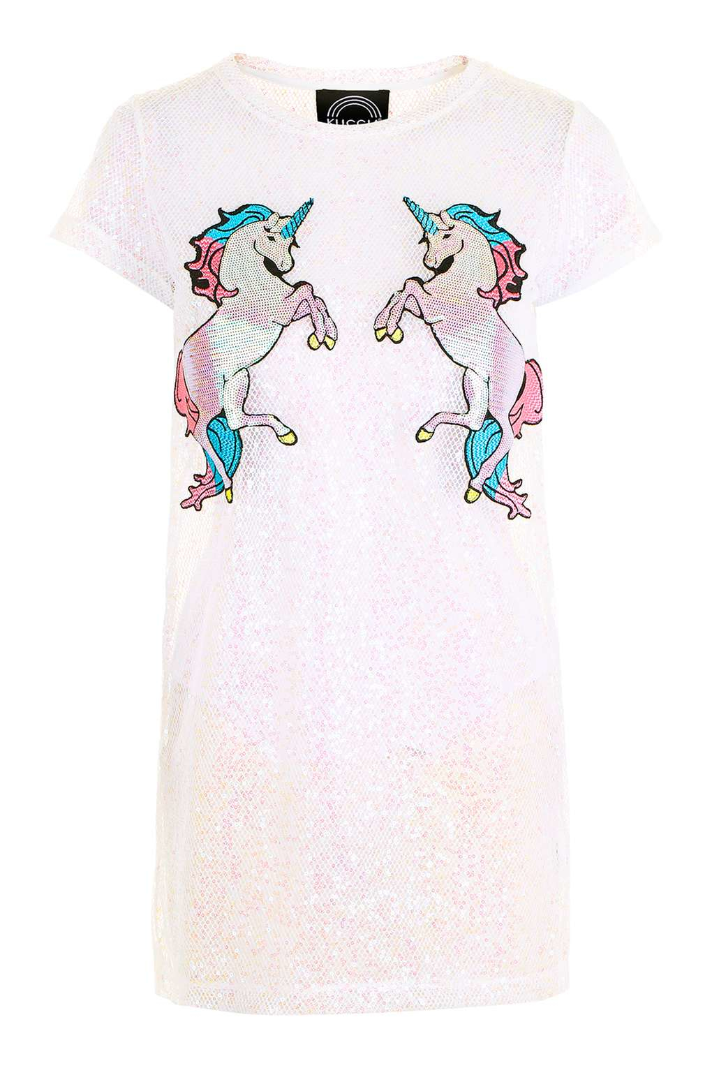 7ff953c55a852 TOPSHOP Iridescent Mesh Unicorn Dress By Kuccia in White - Lyst