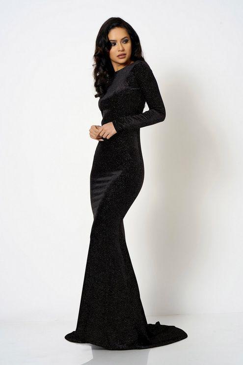 78c8e2797e2e Club L velour Fishtail Maxi Dress By London in Black - Lyst