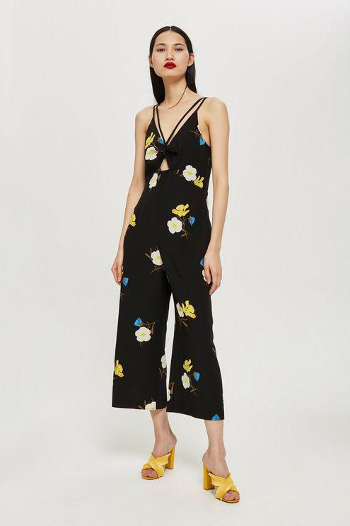 712f2a1d3400 TOPSHOP Tall Yellow Floral Jumpsuit in Black - Lyst