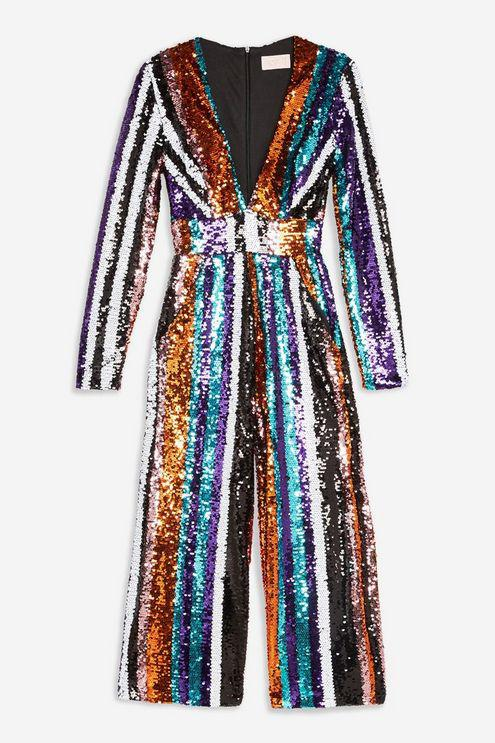 ada3c8da359f Club L - Blue stripe Sequin Plunge Jumpsuit By - Lyst. View fullscreen