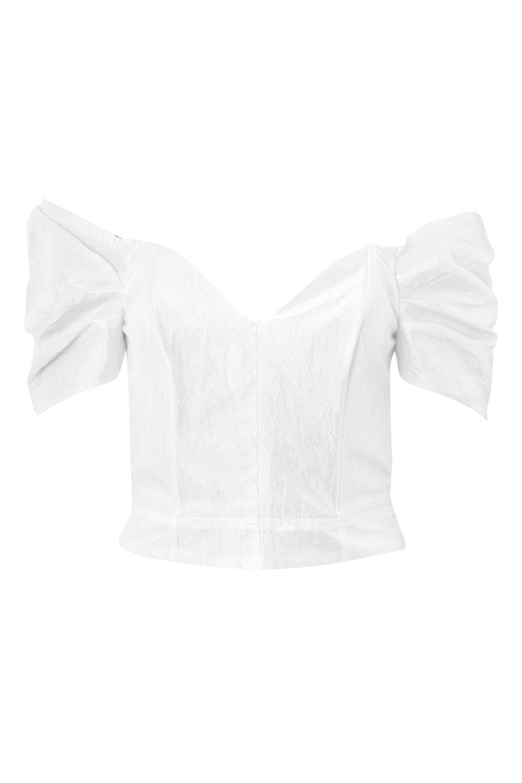 b6f116f626a73c Lyst - TOPSHOP Taffeta Puff Sleeve Bardot Top in White