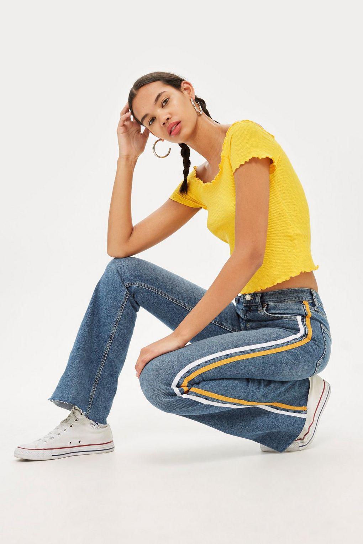 924c433637f766 TOPSHOP Moto Side Stripe Jamie Flare Jeans in Blue - Lyst