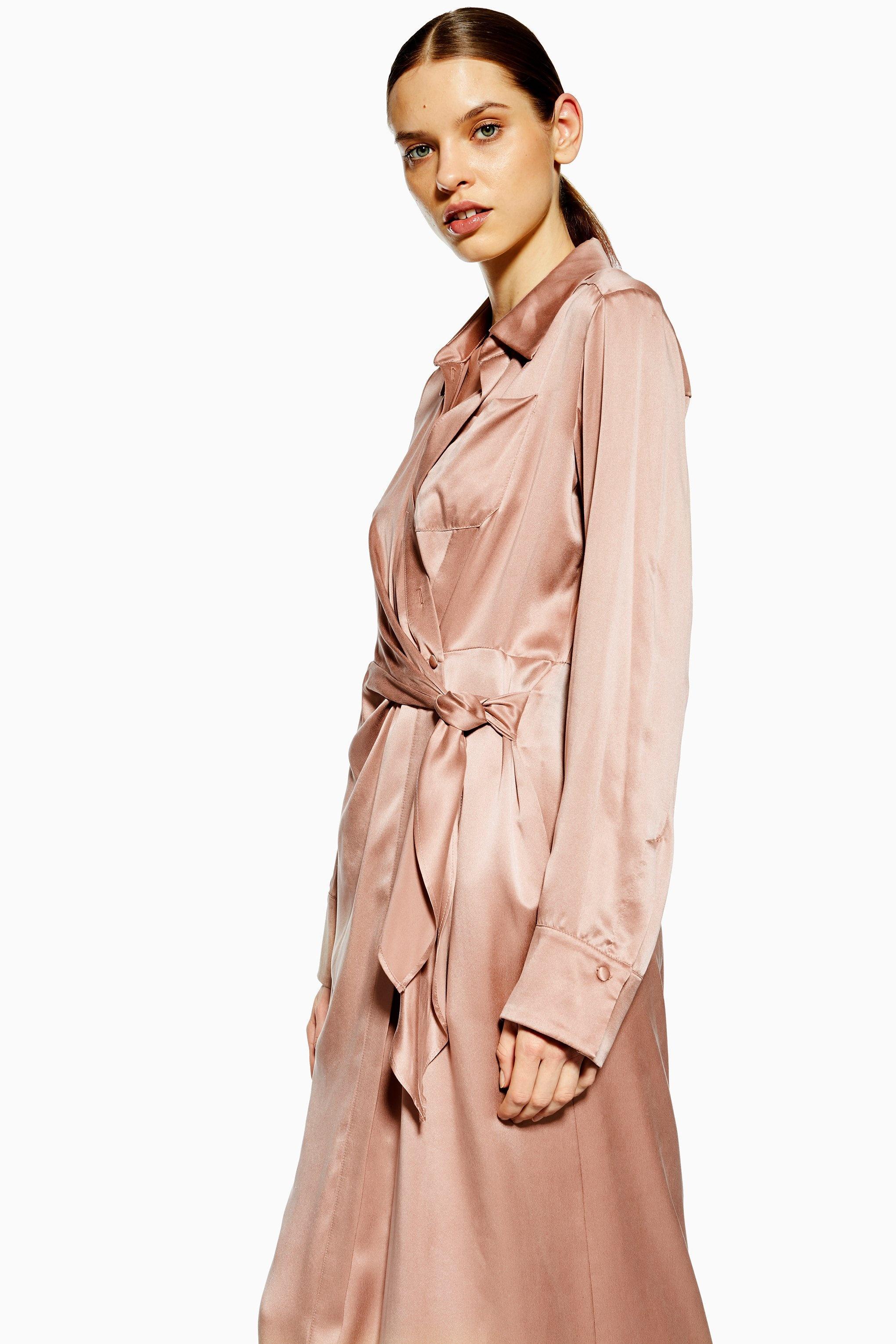 2bb99d0eefc Lyst - TOPSHOP wrap Shirt Silk Dress By Boutique in Pink