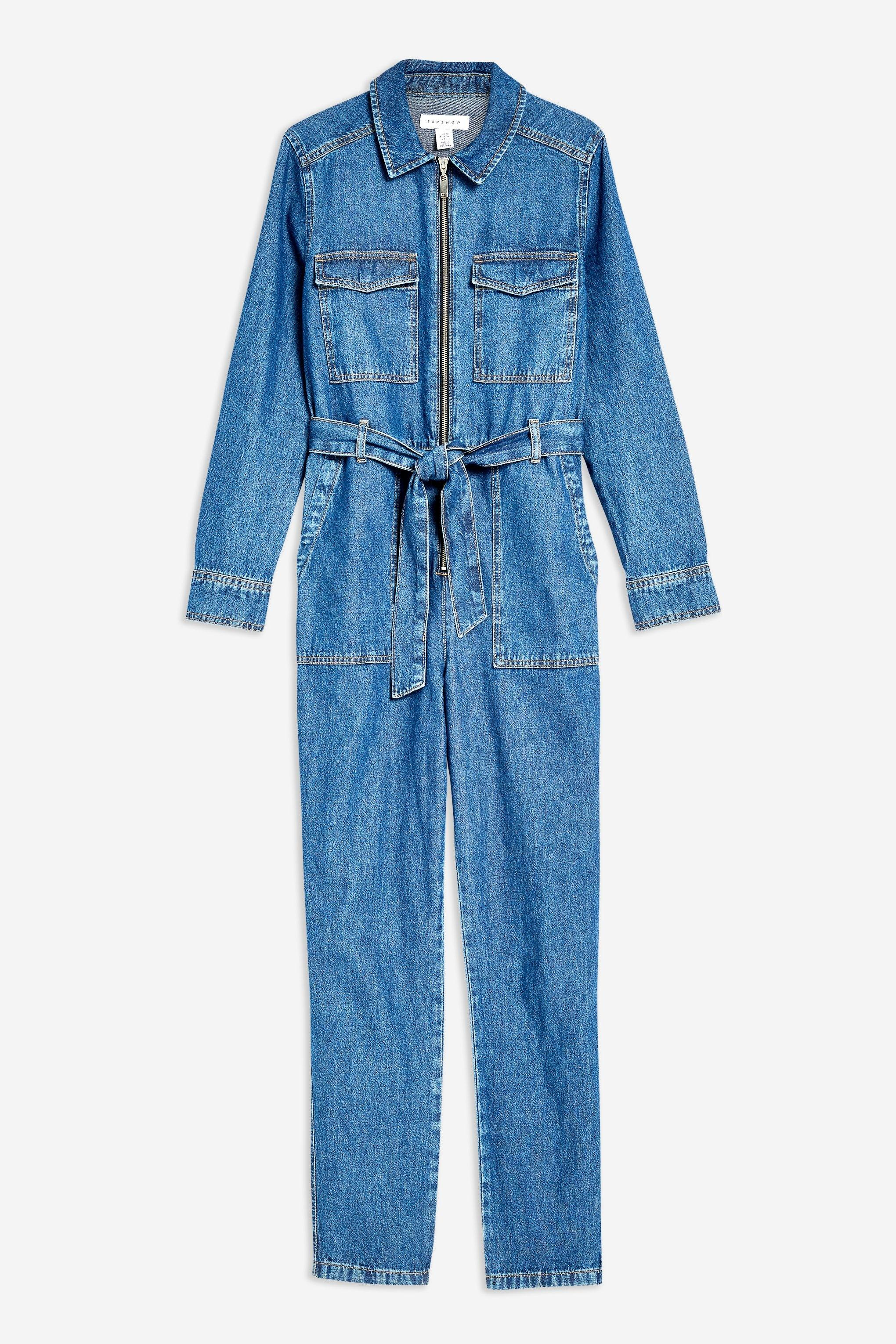 7f34d2f6bc7d TOPSHOP - Blue Tall Denim Utility Boiler Suit - Lyst. View fullscreen
