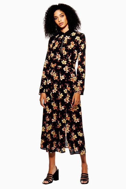 a831828e790b Topshop Autumn Floral Print Midi Skater Dress in Black - Lyst