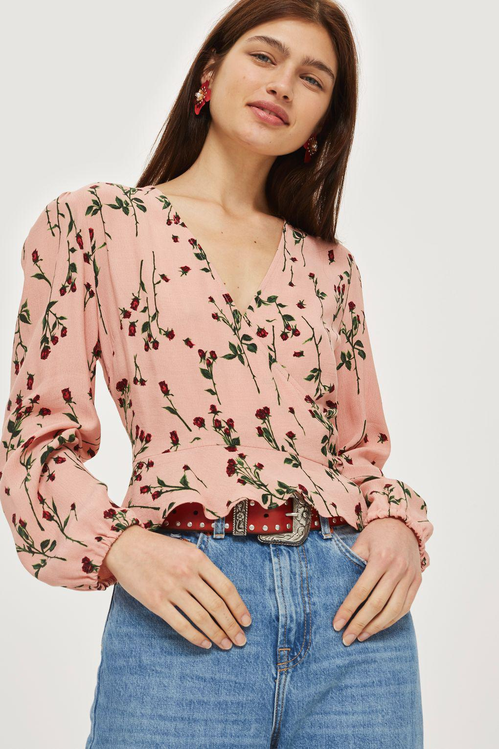 4e865040324 TOPSHOP Rose Bud Long Sleeve Wrap Top in Pink - Lyst