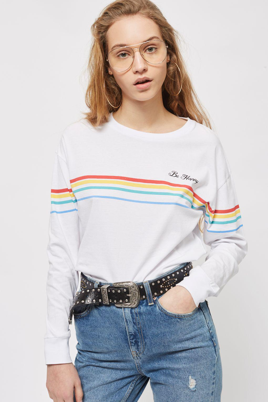 61aca91d3 Lyst - TOPSHOP 'be Happy' Stripe Long Sleeve Top in White