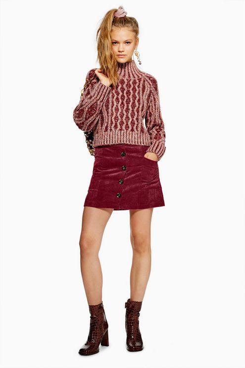 a3ac9051b2 TOPSHOP Petite Corduroy Pocket Mini Skirt in Red - Lyst