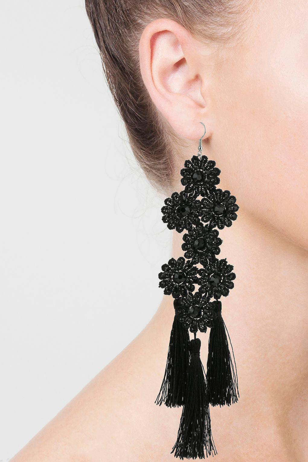 products large web flower shop black earrings shashi stud