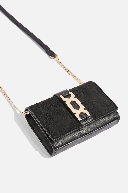 f0b2cd982fa2 Lyst - TOPSHOP Rome Hex Hardware Crossbody Bag in Black