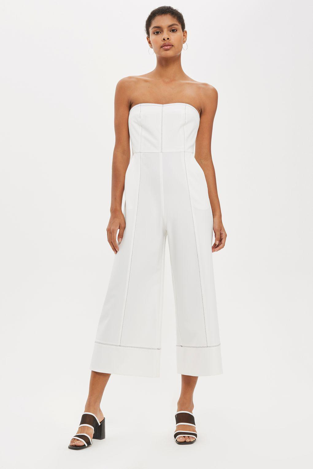 eabe076462c Lyst - TOPSHOP Topstitch Bandeau Jumpsuit in White