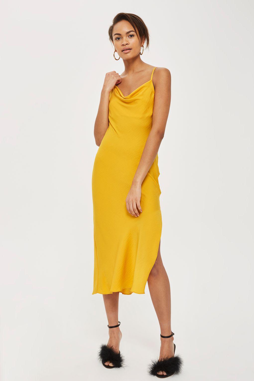 Topshop Cowl Satin Midi Slip Dress In Yellow Lyst