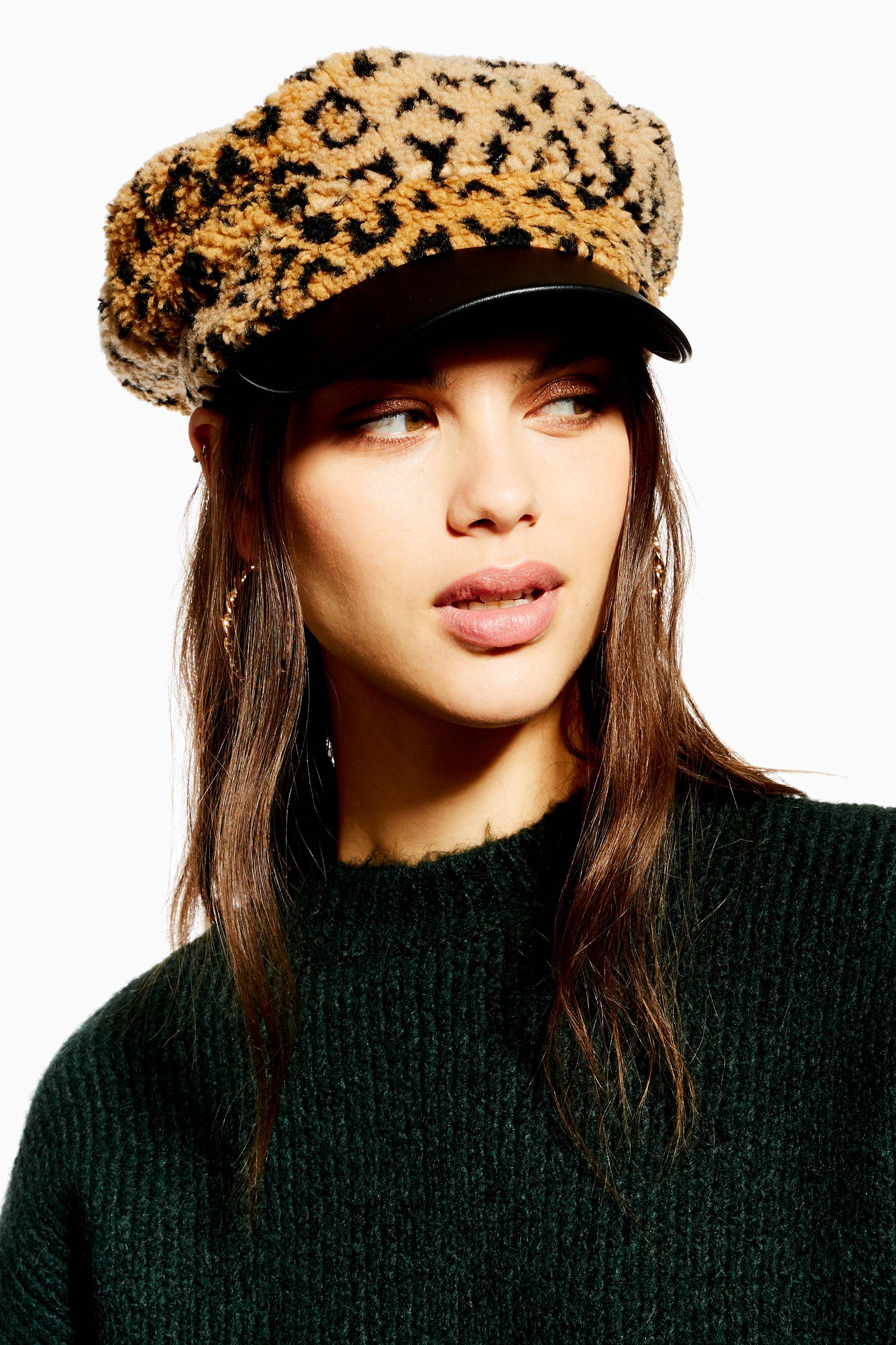 Lyst - TOPSHOP Leopard Print Borg Baker Boy Hat in Natural 0c1be110cc03