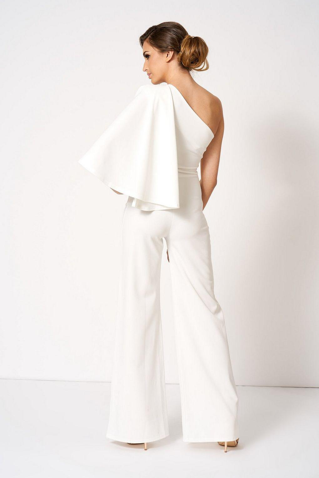 330b6570cbc7 Club L White One Shoulder Cape Jumpsuit By London in White - Lyst