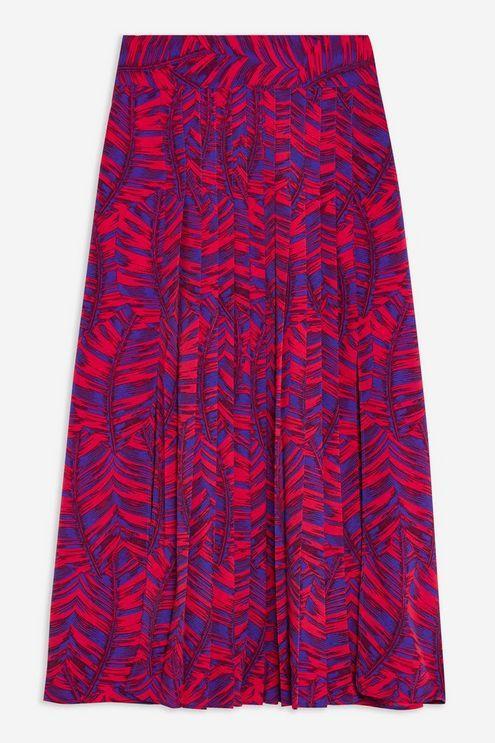096575ef7431 TOPSHOP - Pink Palm Print Box Pleat Midi Skirt - Lyst. View fullscreen