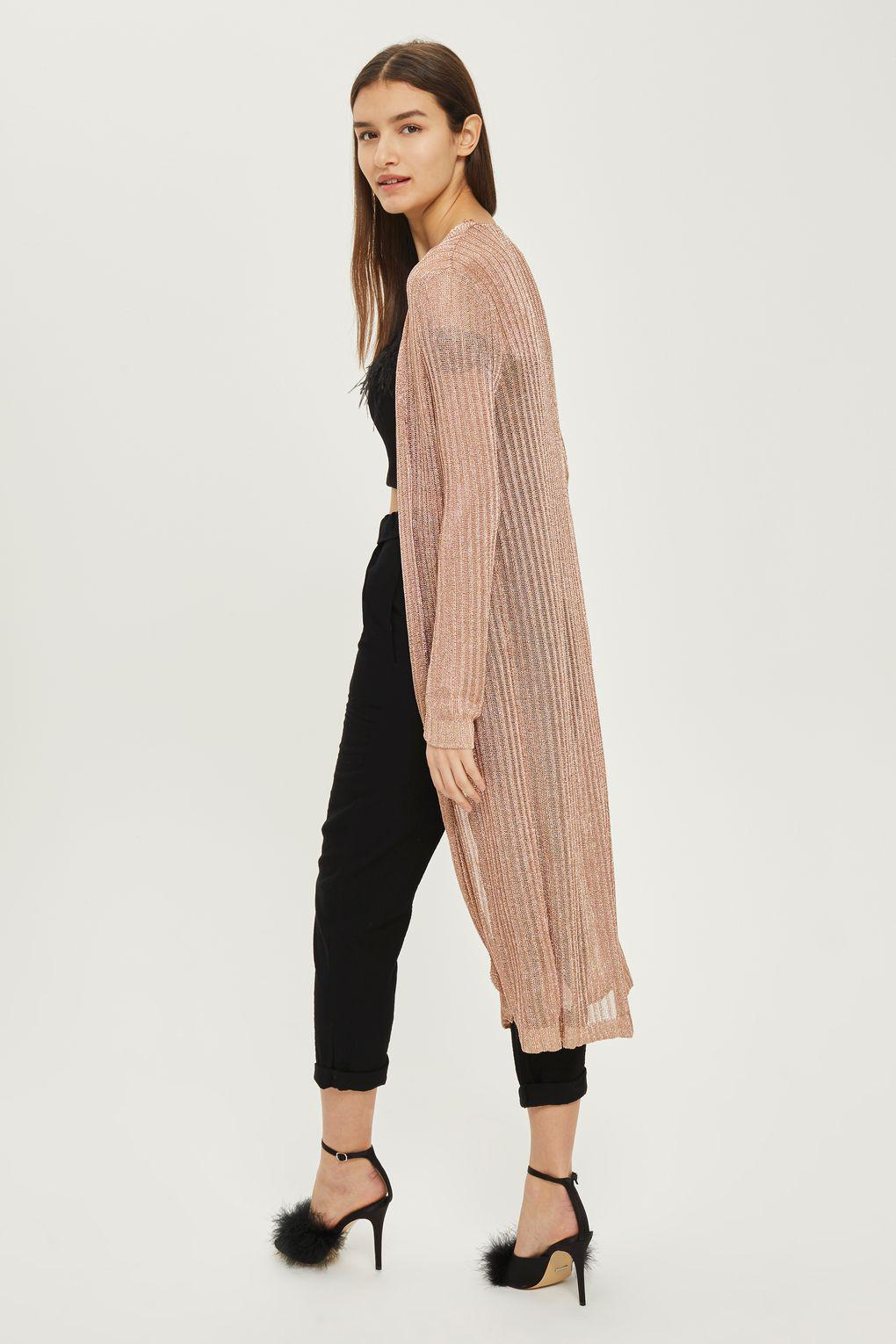 df2e1452e5a TOPSHOP Metallic Ribbed Longline Cardigan in Pink - Lyst