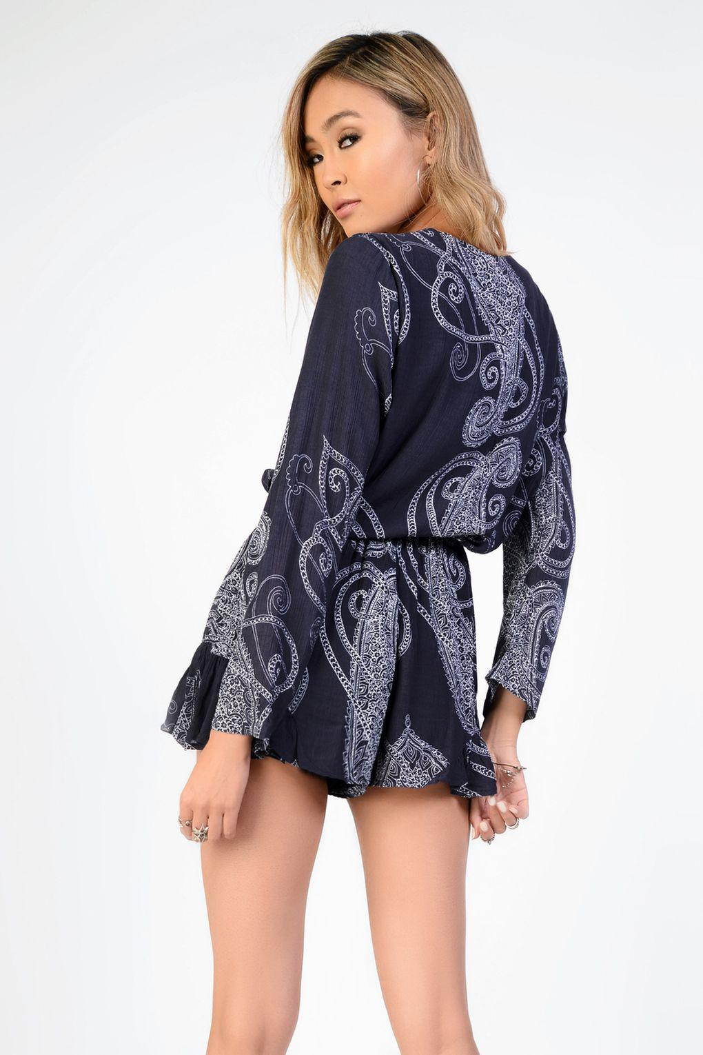 b3ff0af058 Glamorous Paisley Tie Front Playsuit By Glamorous in Blue - Lyst