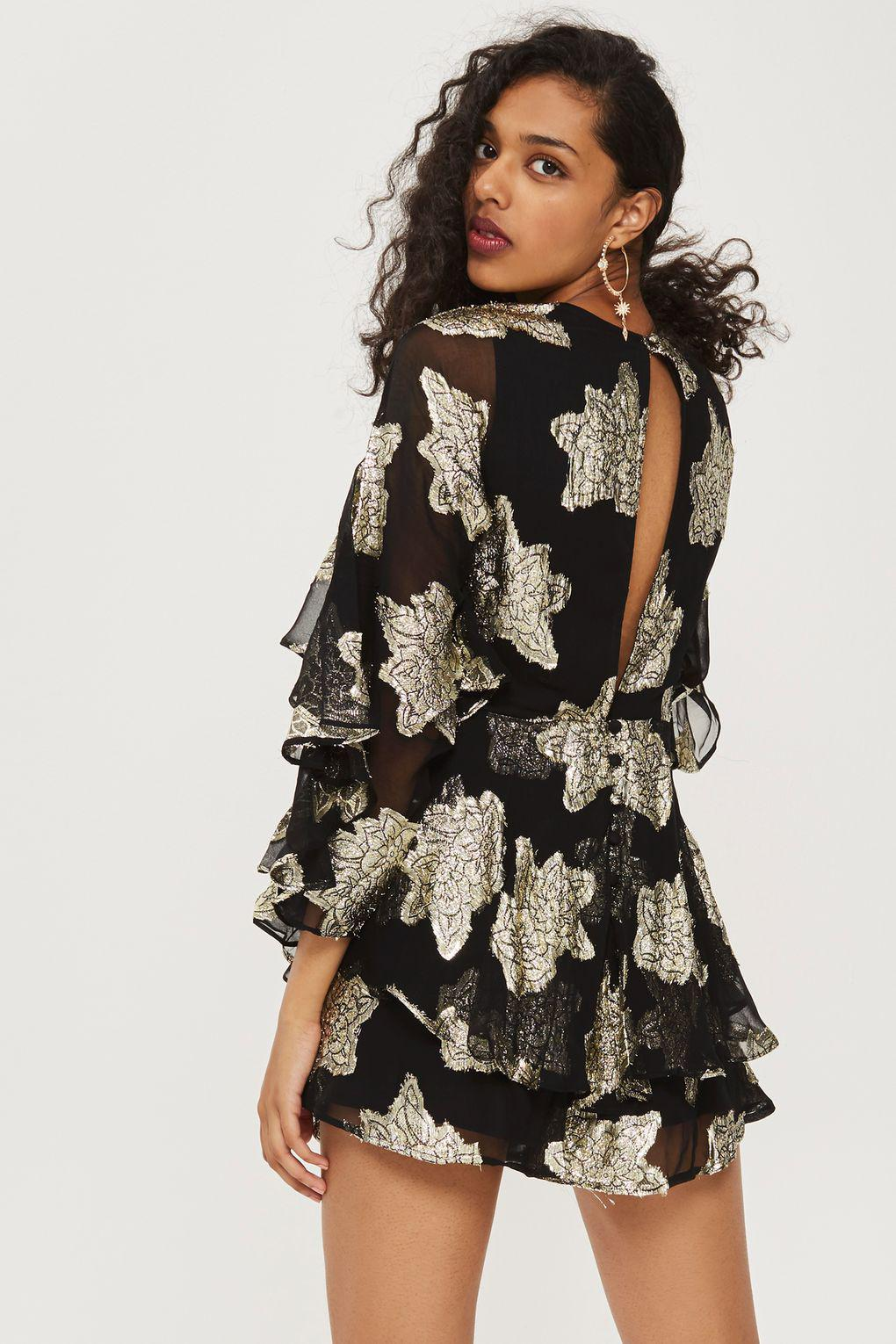 f2ce2ce1985 TOPSHOP Gold Ruffle Sleeve Playsuit in Black - Lyst