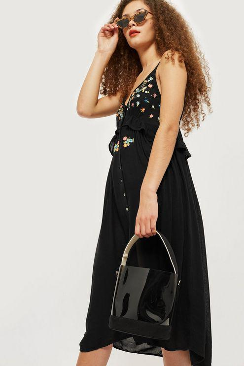 db7670f55a63d Topshop Embroidered Frill Dress in Black - Lyst