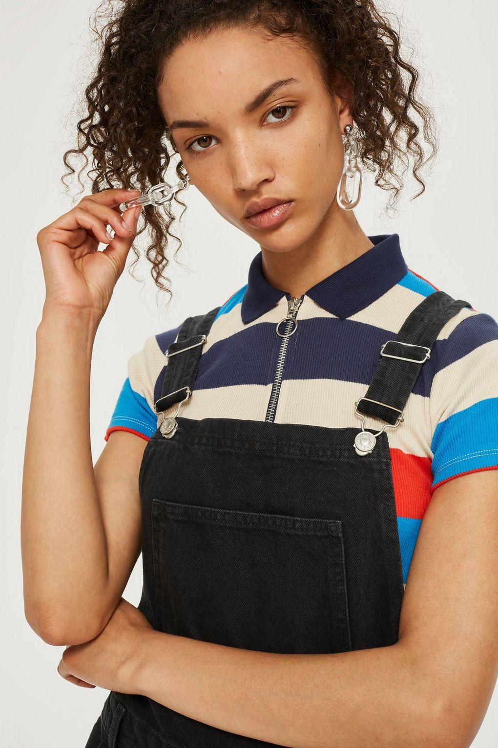 Topshop Slim Leg Dungarees in Black - Lyst 173a9f1605d51