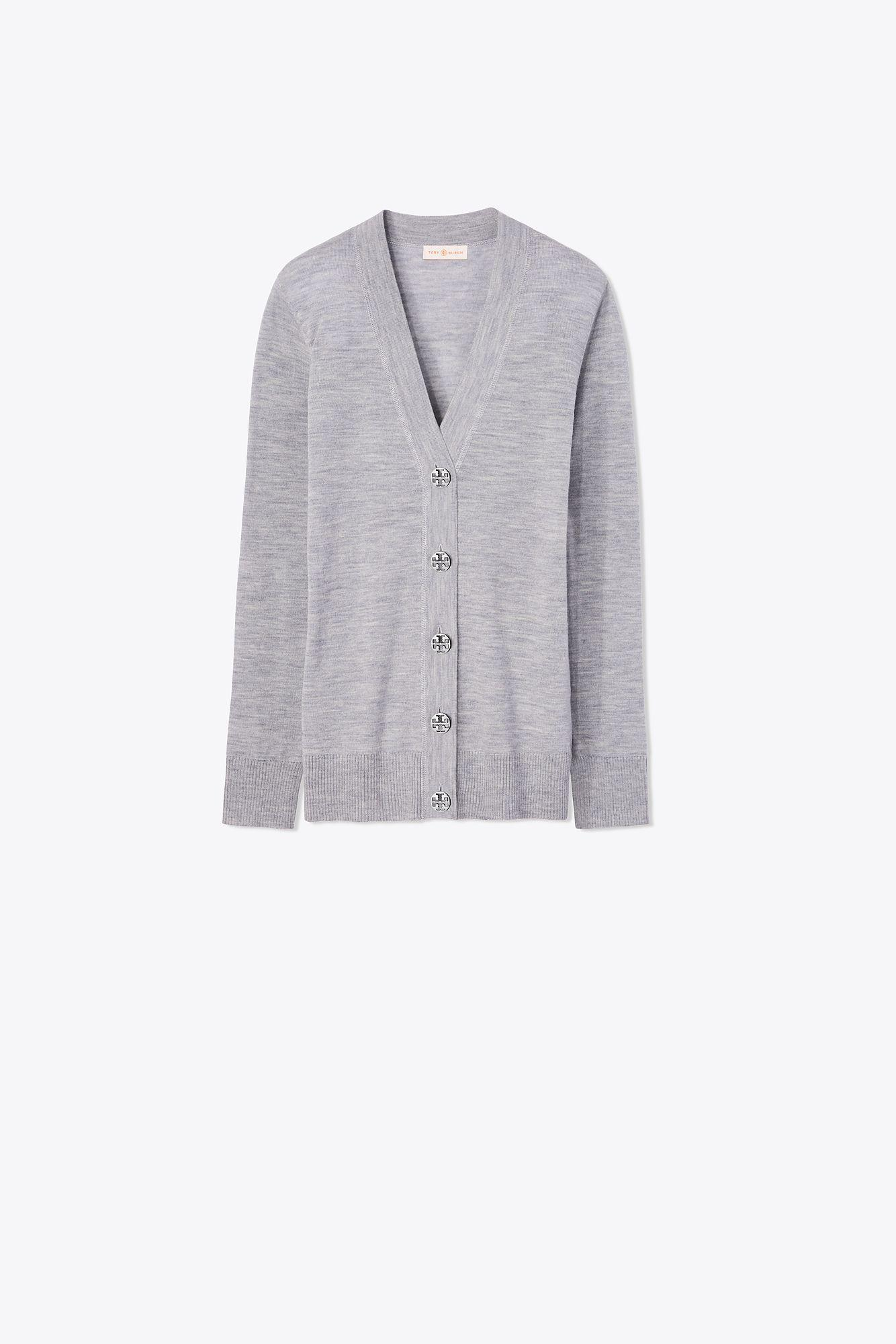 672c61f76e9 Lyst - Tory Burch Merino Wool Simone Cardigan in Gray