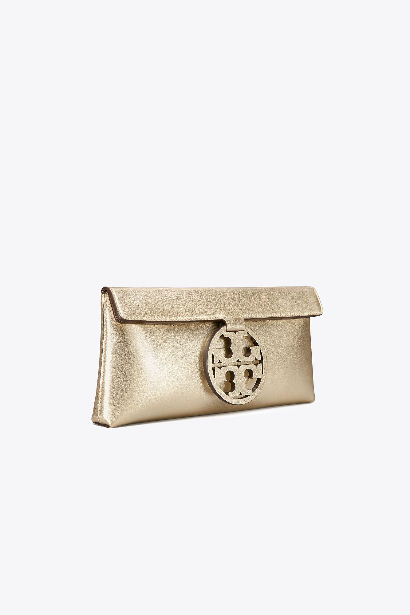 Discount Very Cheap Fashionable Sale Online Tory Burch Miller Metallic Leather Clutch LCtbFet