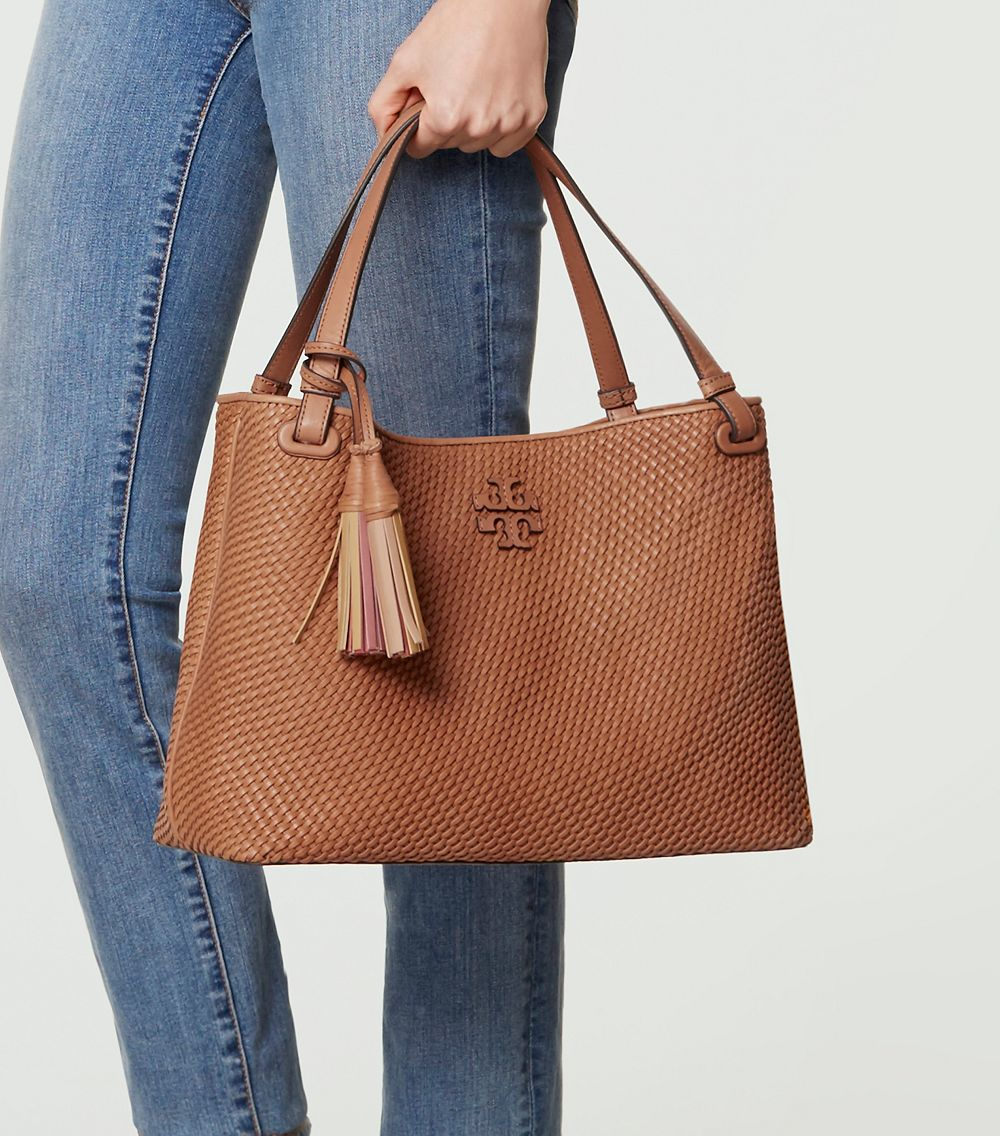 5f748319f36a Lyst - Tory Burch Thea Woven-leather Center-zip Tote in Brown