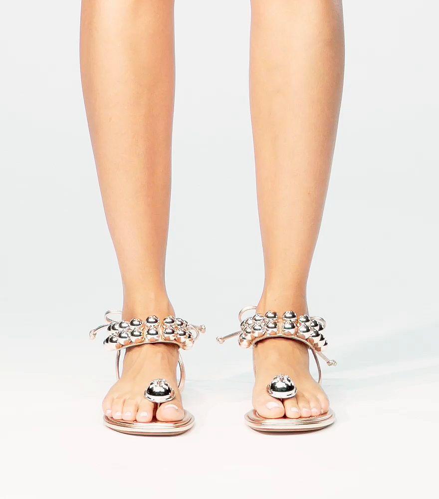 58d7586b1b0 Lyst - Tory Burch Melody Metallic Ankle-strap Sandal in Pink