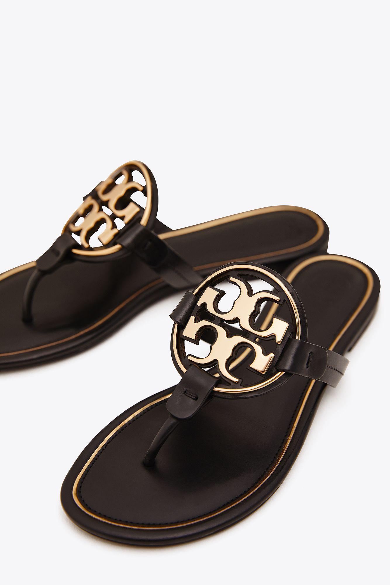 765f6e6f645 Tory Burch - Black Miller Metal-logo Sandal