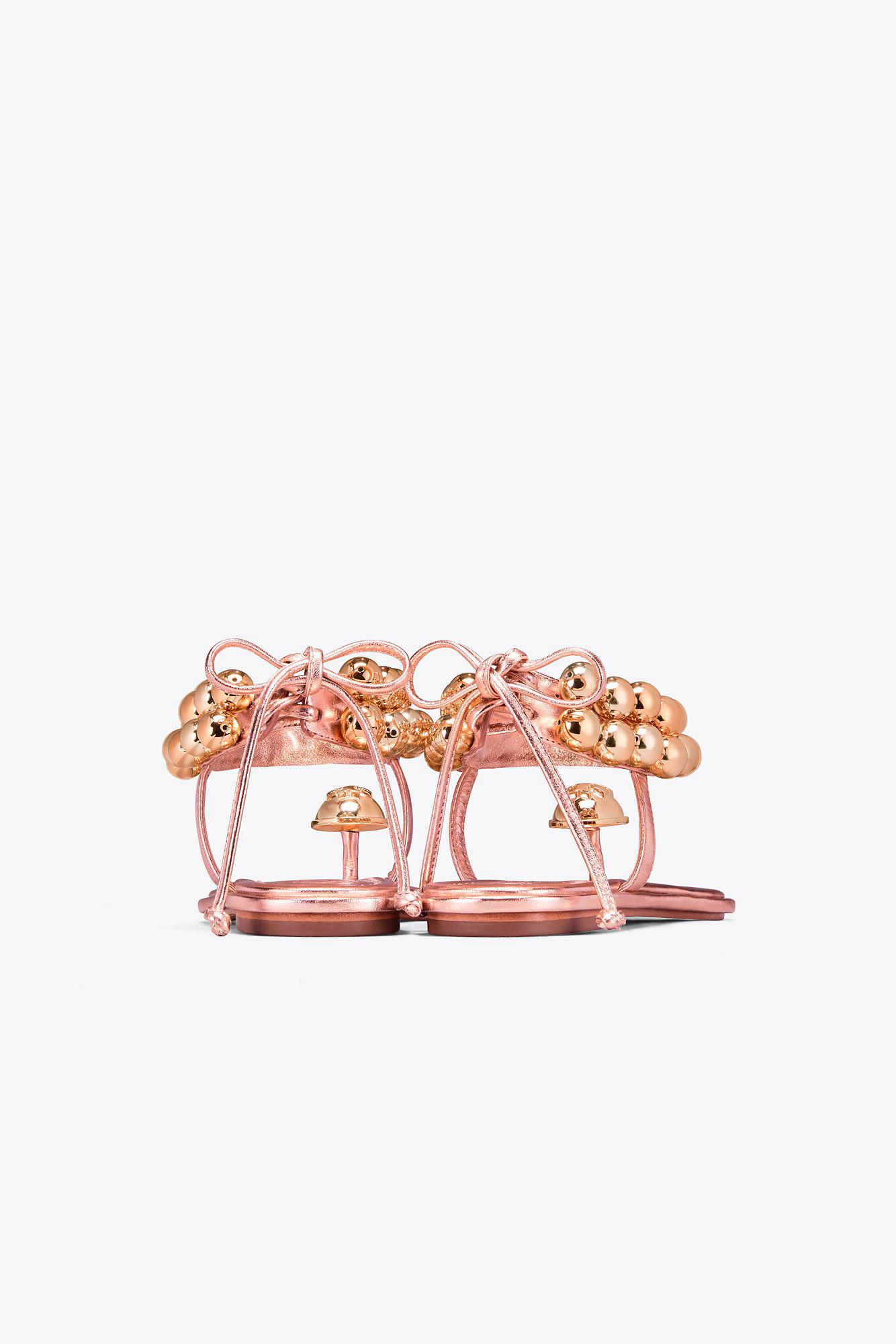 14977368ed6a Tory Burch Melody Metallic Ankle-strap Sandal in Pink - Lyst