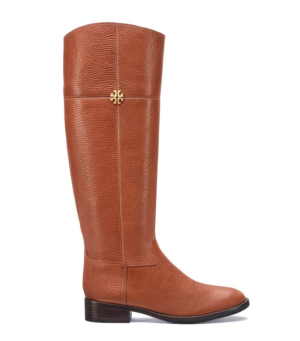 Tory Burch Jolie Leather Riding Boots In Brown Lyst